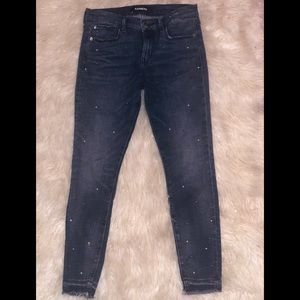 Express Jeans - Express Embellished Pearl/Stone Ankle Legging 4R